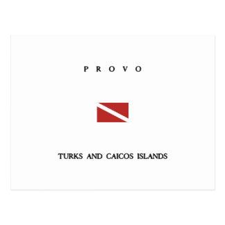 """Provo """"Turks and Caicos"""" Islands Scuba Dive Flag Postcards"""
