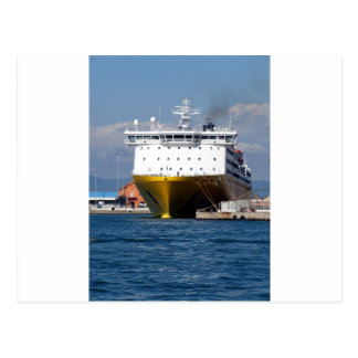 Prow view italian ferry postcard