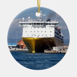 Prow view italian ferry round ceramic decoration