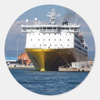 Prow view italian ferry round sticker