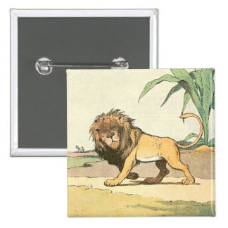 Prowling Jungle Lion Illustrated 15 Cm Square Badge