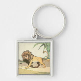 Prowling Lion Silver-Colored Square Key Ring