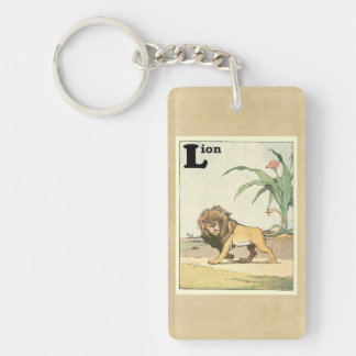 Prowling Lion Story Book Double-Sided Rectangular Acrylic Key Ring