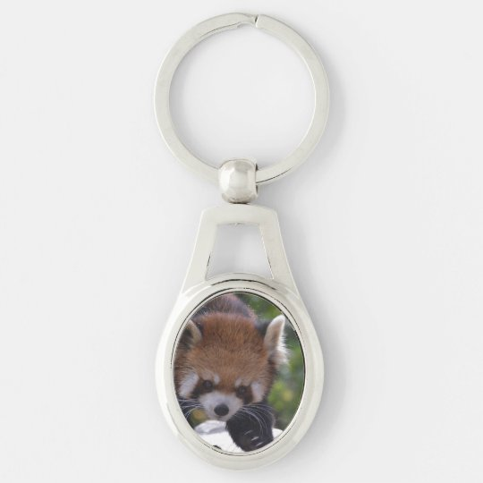 Prowling Red Panda Silver-Colored Oval Key Ring