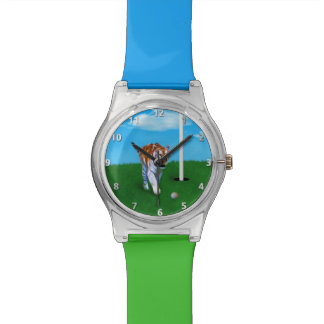 Prowling Tiger and Golf Ball Customizable Wristwatch