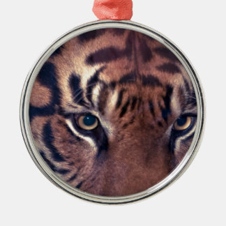 Prowling Tiger Silver-Colored Round Decoration