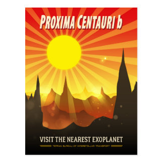 Proxima Centauri b Retro Exoplanet Illustration Postcard