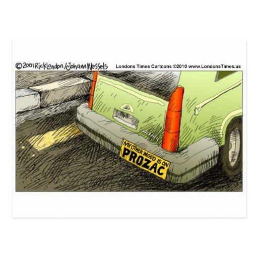 Prozac Bumper Sticker Funny Tees Cards & Gifts Post Card