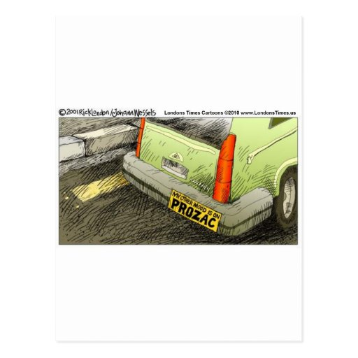 Prozac Bumper Sticker Funny Tees Cards & Gifts Postcards