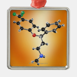 Prozac. Molecular model of the antidepressant Christmas Ornament