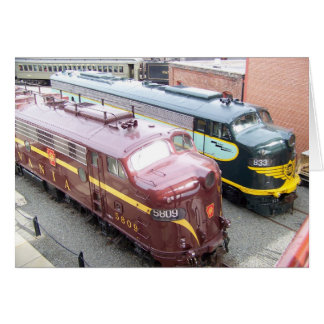 PRR E8A 5809 and ERIE E8A 833 at Steamtown Cards