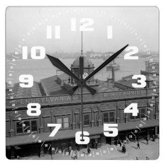 PRR Ferry Terminal Phila. Pa. Square Wall Clock