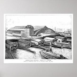 PRR Jersey City NJ Station 1893 Poster