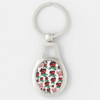 prt key Silver-Colored oval key ring
