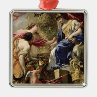 Prudence Leading Peace and Abundance, c.1645 (oil Christmas Ornament