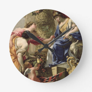 Prudence Leading Peace and Abundance, c.1645 (oil Round Clock