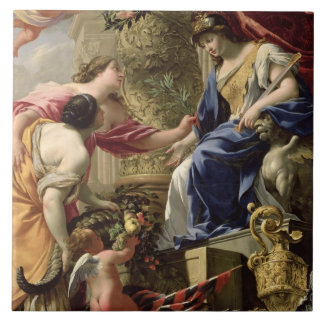 Prudence Leading Peace and Abundance, c.1645 (oil Tile