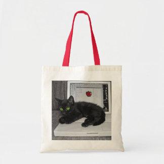 Prunella black cat lounging on laptop