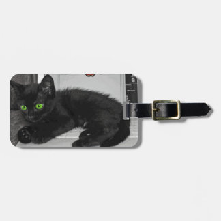 Prunella black cat lounging on laptop luggage tag