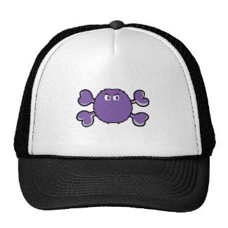 prurple fuzzy monster Skull purple Crossbones Trucker Hats