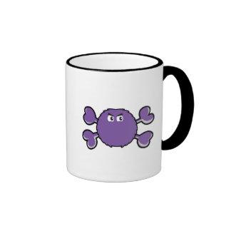 prurple fuzzy monster Skull purple Crossbones Coffee Mugs