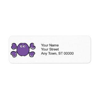 prurple fuzzy monster Skull purple Crossbones Return Address Label