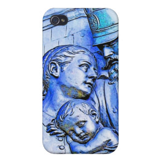 Prussian Soldier Woman and Baby Blue Tint iPhone 4 Cover