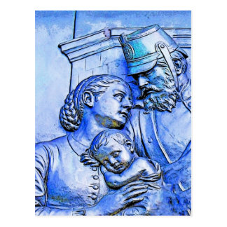 Prussian Soldier Woman and Baby Blue Tint Post Cards