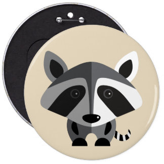 ps061 cute racoon 6 cm round badge