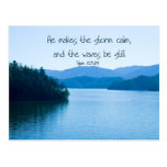Ps 107:29 He makes the storm calm Postcard