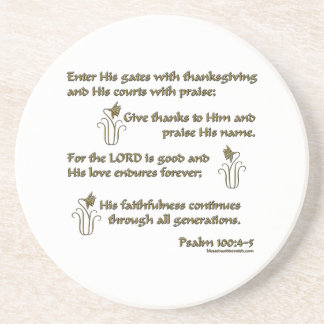 Psalm 100:4-5 beverage coaster