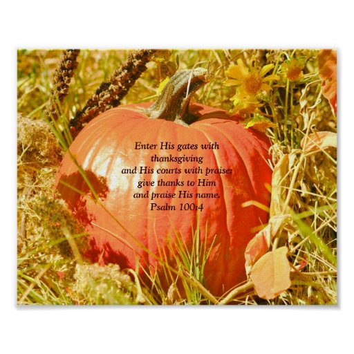 Psalm 100:4 Thanksgiving poster