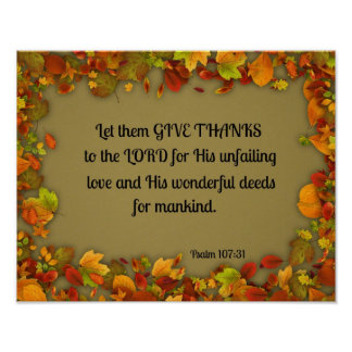 Psalm 107:31 Let them give thanks to the Lord... Poster