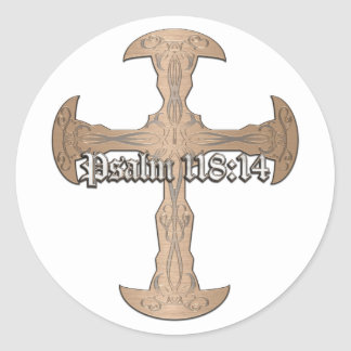 Psalm 118:14 - Etched Copper Cross Round Stickers