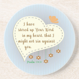 Psalm 119:11 I have stored up your Word in my <3 Drink Coasters