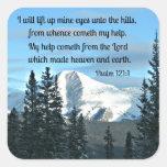 Psalm 121:1 I will lift up mine eyes... Square Sticker