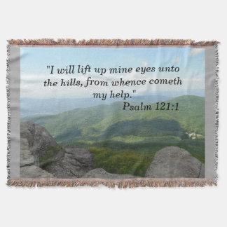 Psalm 121:1 Throw Blanket Blue Ridge Moutains