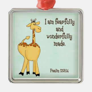psalm 139:14 kids christian giraffe green christmas ornament
