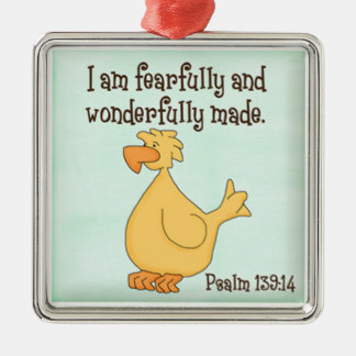 psalm 139:14 kids christian yellow duck christmas ornament