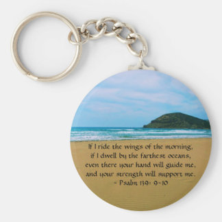 Psalm 139: 9-10 BEAUTIFUL BIBLICAL QUOTATION Basic Round Button Key Ring