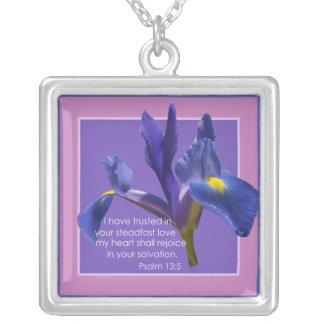 Psalm 13:5 square pendant necklace