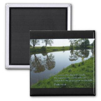 Psalm 147:8 Pond Square Magnet