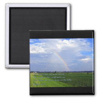 Psalm 147:8 Rainbow Square Magnet