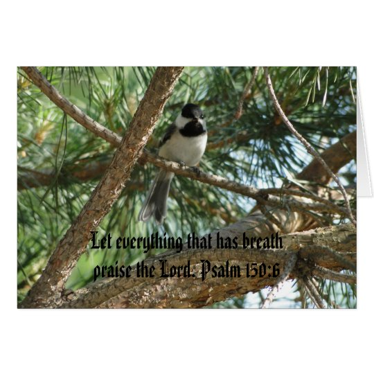 Psalm 150:6, Chicadee, Oriole & Chickens Card