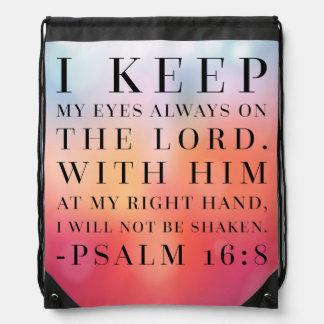 Psalm 16:8 Bible Quote Drawstring Bag