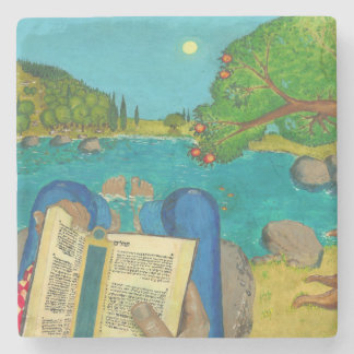 Psalm 1 in Hebrew Bible Jewish Christian Paintings Stone Beverage Coaster
