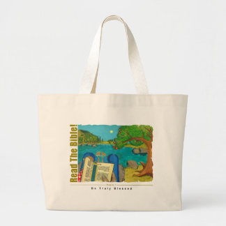 Psalm 1 - Man reads Psalm 1 in Hebrew Bible Large Tote Bag