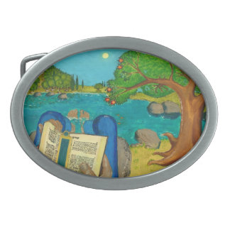 Psalm 1 - Man reads Psalm 1 in Hebrew Oval Belt Buckles