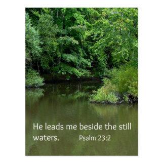 Psalm 23:2 He leads me beside the still waters Postcard