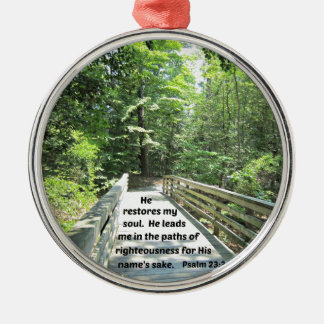 Psalm 23:3 He restores my soul, He leads me in the Silver-Colored Round Decoration